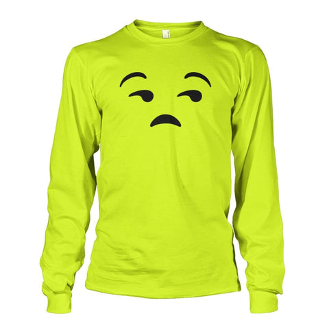 Image of Unamused Face Long Sleeve - Safety Green / S - Long Sleeves