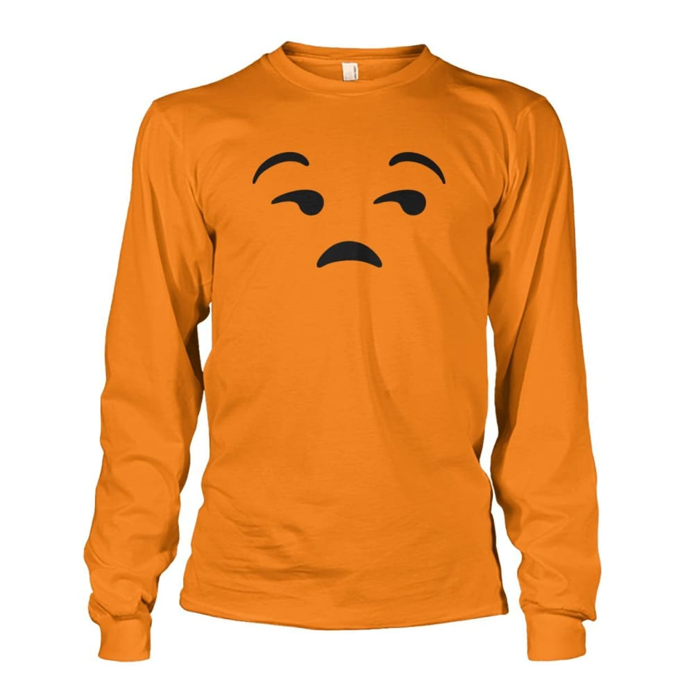 Unamused Face Long Sleeve - Safety Orange / S - Long Sleeves