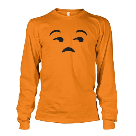 Image of Unamused Face Long Sleeve - Safety Orange / S - Long Sleeves