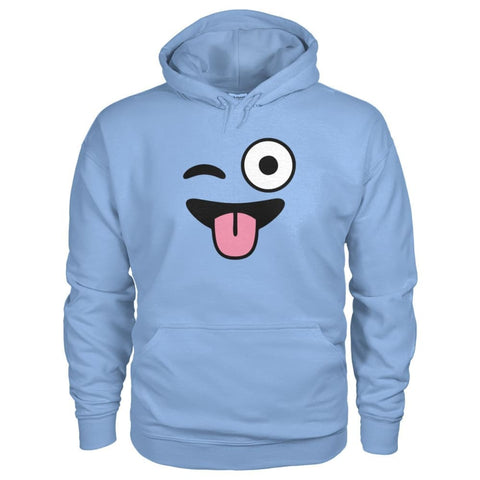 Winkey Face With Tongue Hoodie - Light Blue / S - Hoodies