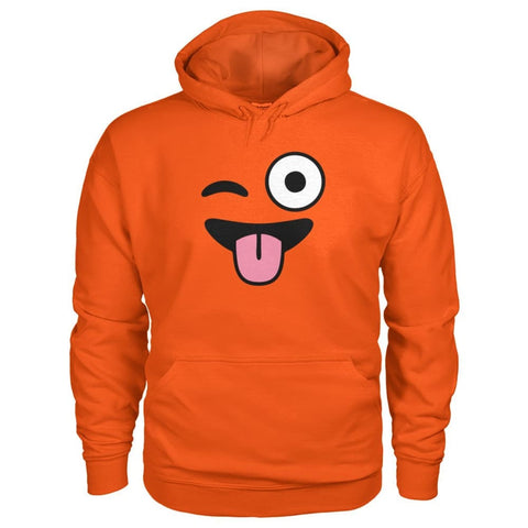 Winkey Face With Tongue Hoodie - Orange / S - Hoodies