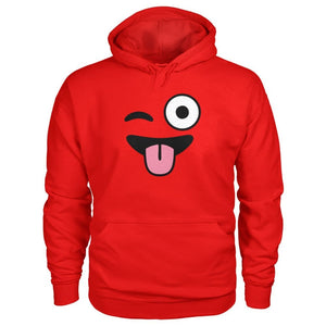 Winkey Face With Tongue Hoodie - Red / S - Hoodies