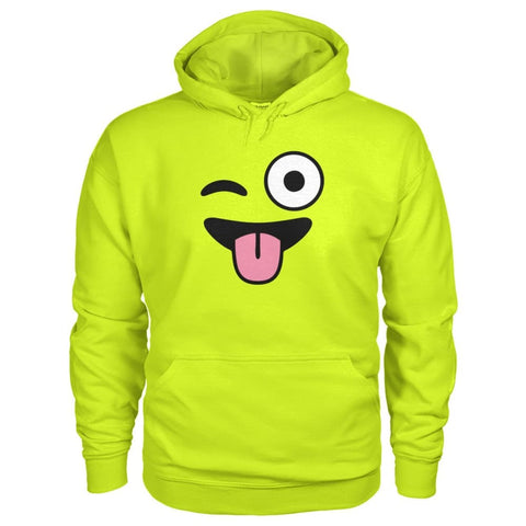 Winkey Face With Tongue Hoodie - Safety Green / S - Hoodies