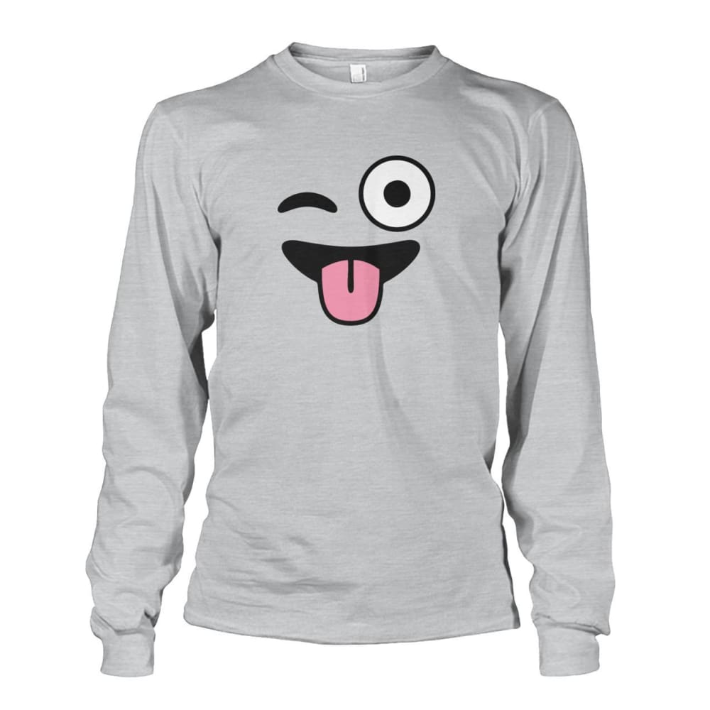 Winkey Face With Tongue Long Sleeve - Ash Grey / S - Long Sleeves