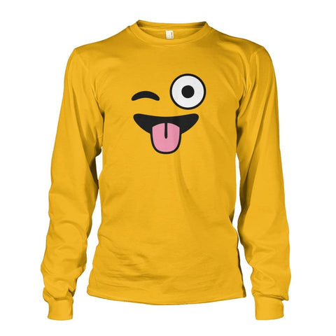 Winkey Face With Tongue Long Sleeve - Gold / S - Long Sleeves