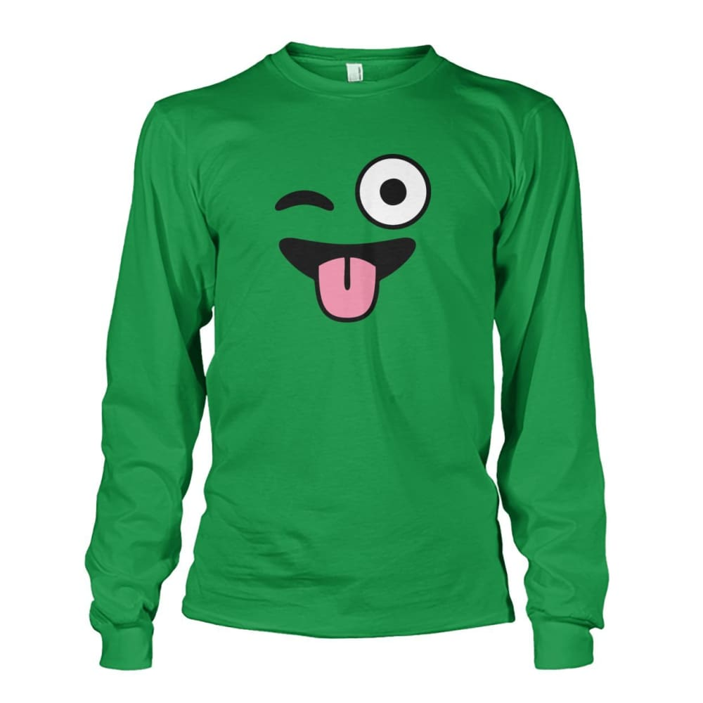 Winkey Face With Tongue Long Sleeve - Irish Green / S - Long Sleeves