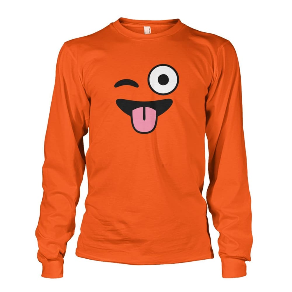 Winkey Face With Tongue Long Sleeve - Orange / S - Long Sleeves