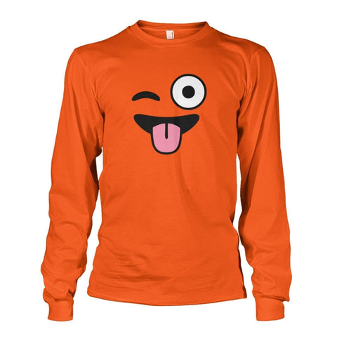 Image of Winkey Face With Tongue Long Sleeve - Orange / S - Long Sleeves