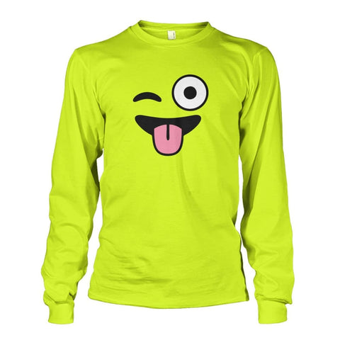 Winkey Face With Tongue Long Sleeve - Safety Green / S - Long Sleeves