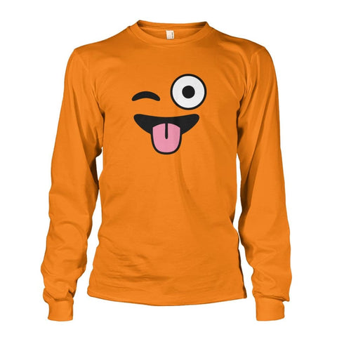 Winkey Face With Tongue Long Sleeve - Safety Orange / S - Long Sleeves