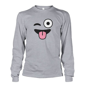 Winkey Face With Tongue Long Sleeve - Sports Grey / S - Long Sleeves