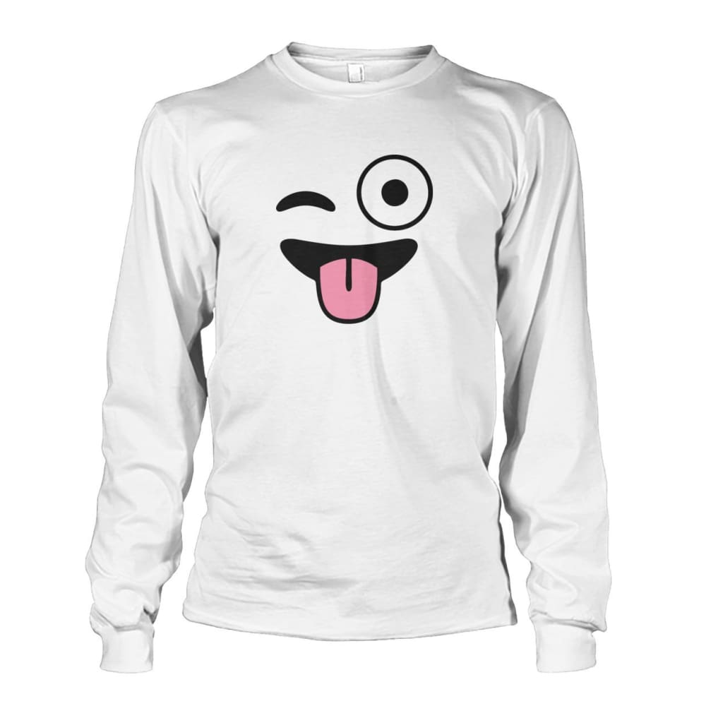 Winkey Face With Tongue Long Sleeve - White / S - Long Sleeves