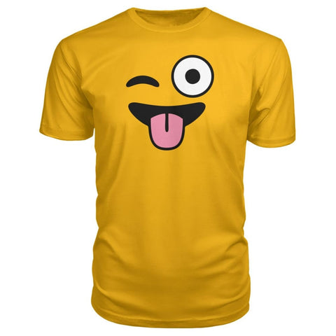 Image of Winkey Face With Tongue Premium Tee - Gold / S / Premium Unisex Tee - Short Sleeves