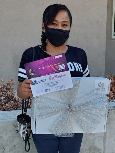 Abigail Molina with Cancer Care Package
