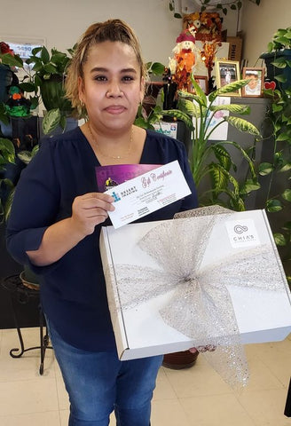Veronica Salcedo with Cancer Care Package
