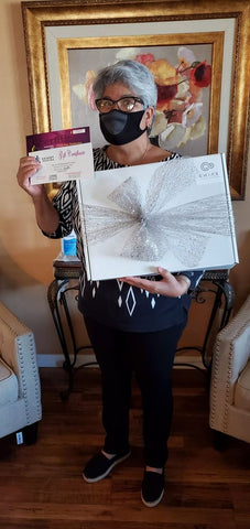 Maria Leos with Cancer Care package
