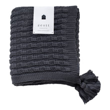 Load image into Gallery viewer, Zestt Organic Cotton Abrams Knit Throw-Charcoal - Cancer Gift Ideas