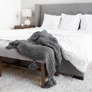 Zestt Organic Cotton Abrams Knit Throw-Charcoal - Cancer Gift Ideas