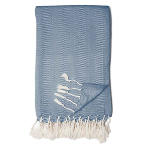 Zestt Organic Cotton Herringbone Throw - Navy - Cancer Care Package
