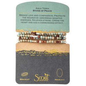 Aqua Terra Wrap Bracelet or Necklace - Stone of Peace