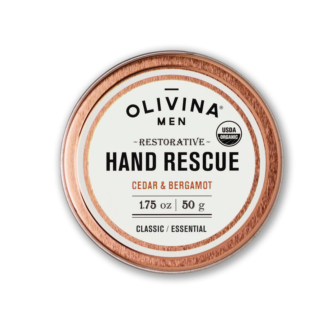 Organic Hand Rescue for Men - Cedar & Bergamot - 1.75oz - Gifts for Male Cancer Patients