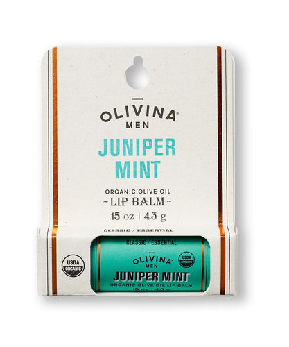 Lip Balm for Men – Juniper Mint - .15oz - Gifts for Men With Cancer