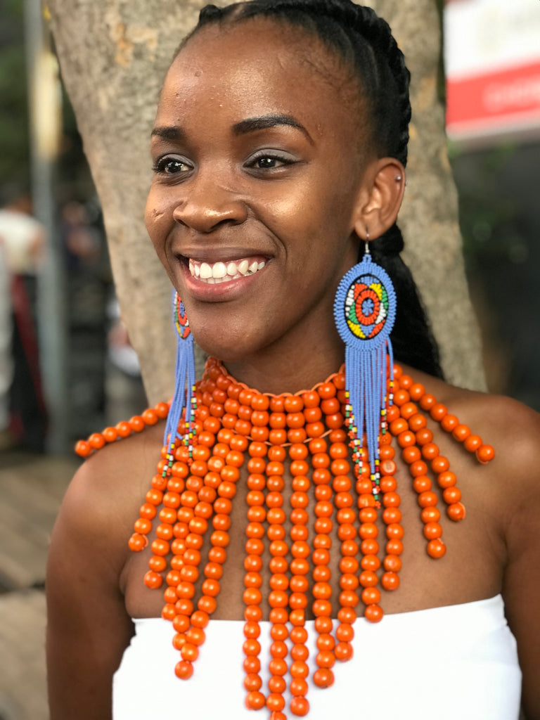 Orange Langa Beaded South African Necklace