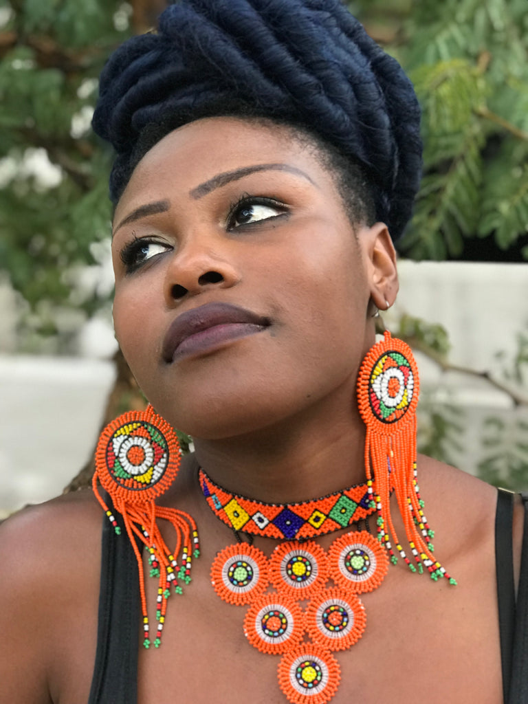 Orange Buhle South African Zulu Earrings