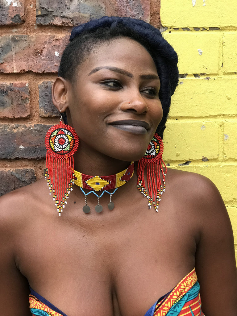 Red Buhle South African Zulu  Earrings