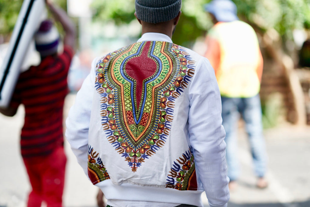 White Senegalese African Fabric Dashiki Bomber Jacket