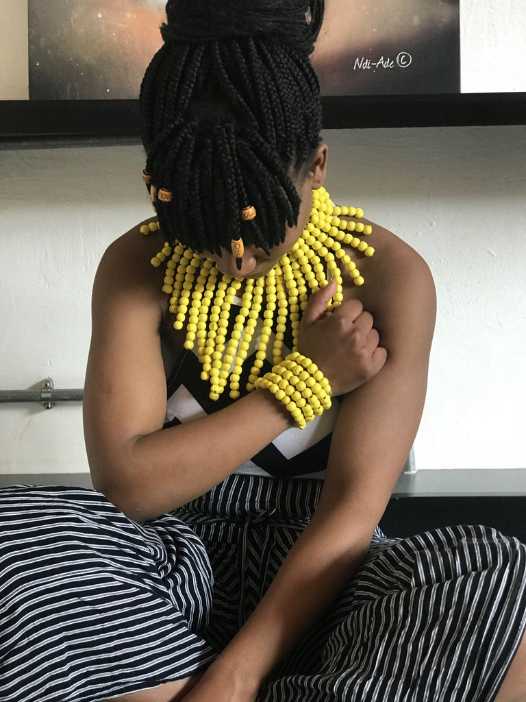 The Yellow Langa Beaded South African Necklace