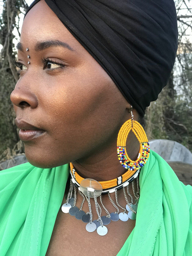 Maasai Kenyan Beaded Yellow Sidai Earrings