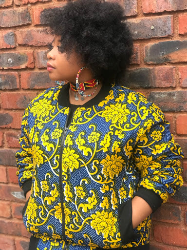 The Flower Maze Senegalese Fabric Bomber Jacket