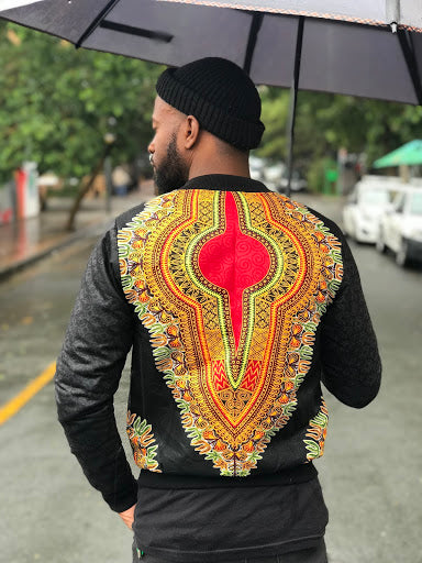 Black Senegalese Dashiki Bomber Jacket