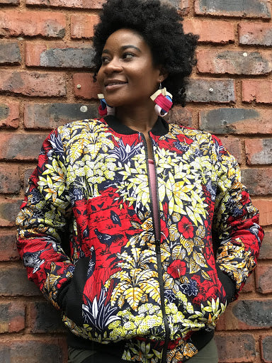 The Red Garden Senegalese African Fabric Bomber Jacket