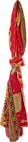 Kantha Scarf | Cotton | Red & Tan