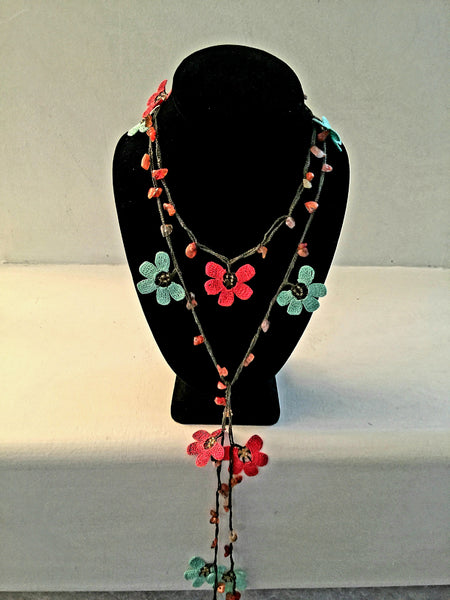 Oya Lariat | Mint Green & Coral Flowers