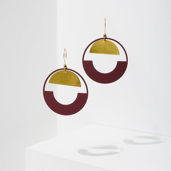 Larissa Loden | Baltic Hoop Earrings | Burgundy