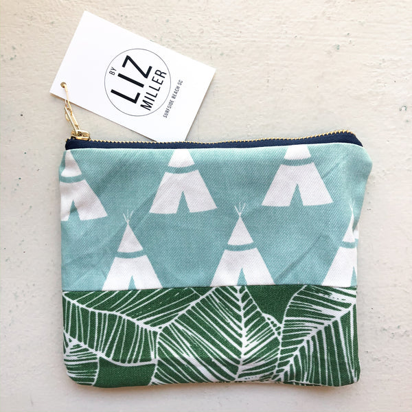 By Liz Miller | Blue Tepees, Green Leaves & Blue Zipper