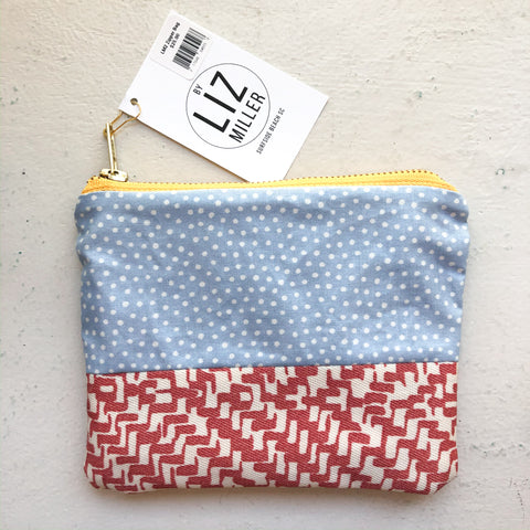 By Liz Miller | Blue with Polka-Dots & Red Bird Lines  | *$25