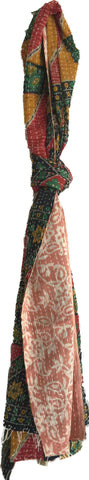 Kantha Scarf | Cotton | Yellow, Green & Red