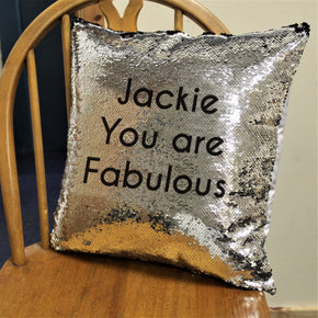 Secret Message Black Sequin Cushion