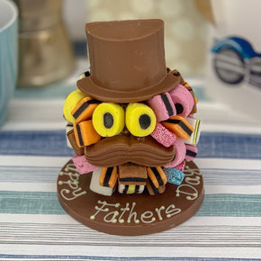 Personalised Allsorts Hat and Moustache Chocolate Head