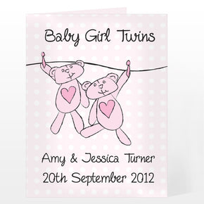Personalised Twin Girls Washing Line Card