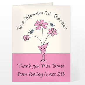 Personalised Wonderful Teacher Card