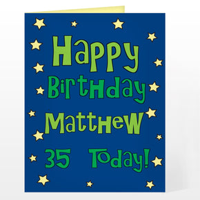 Personalised Happy Birthday Blue Star Card
