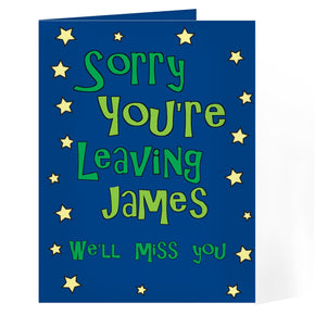 Personalised Sorry You're Leaving Card - Blue Stars