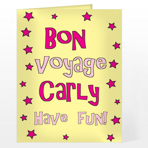 Personalised Bon Voyage Pink Star Card