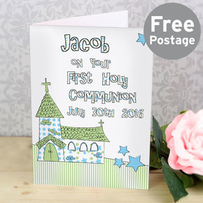 Personalised Whimsical Church Blue 1st Holy Communion Card