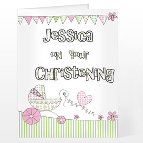 Personalised Whimsical Pram Card